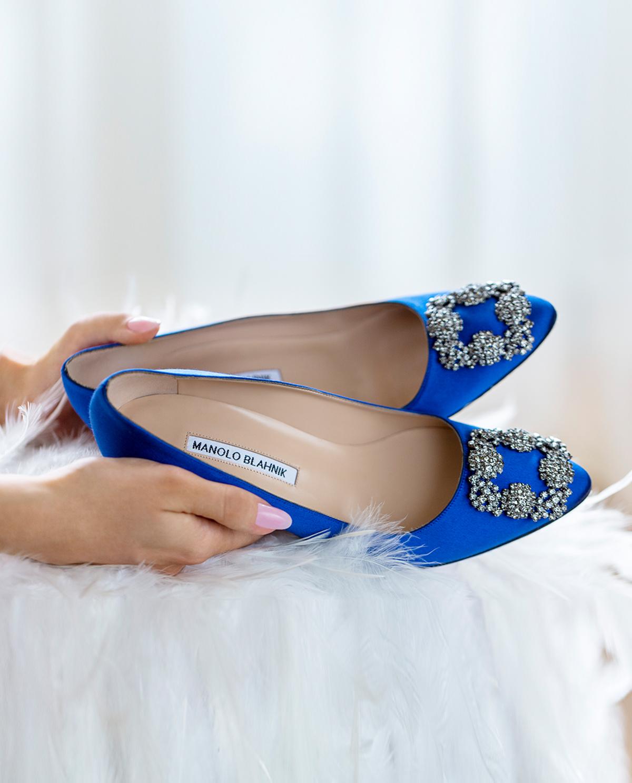 Niebieskie szpilki Hangisi 7 cm Manolo Blahnik