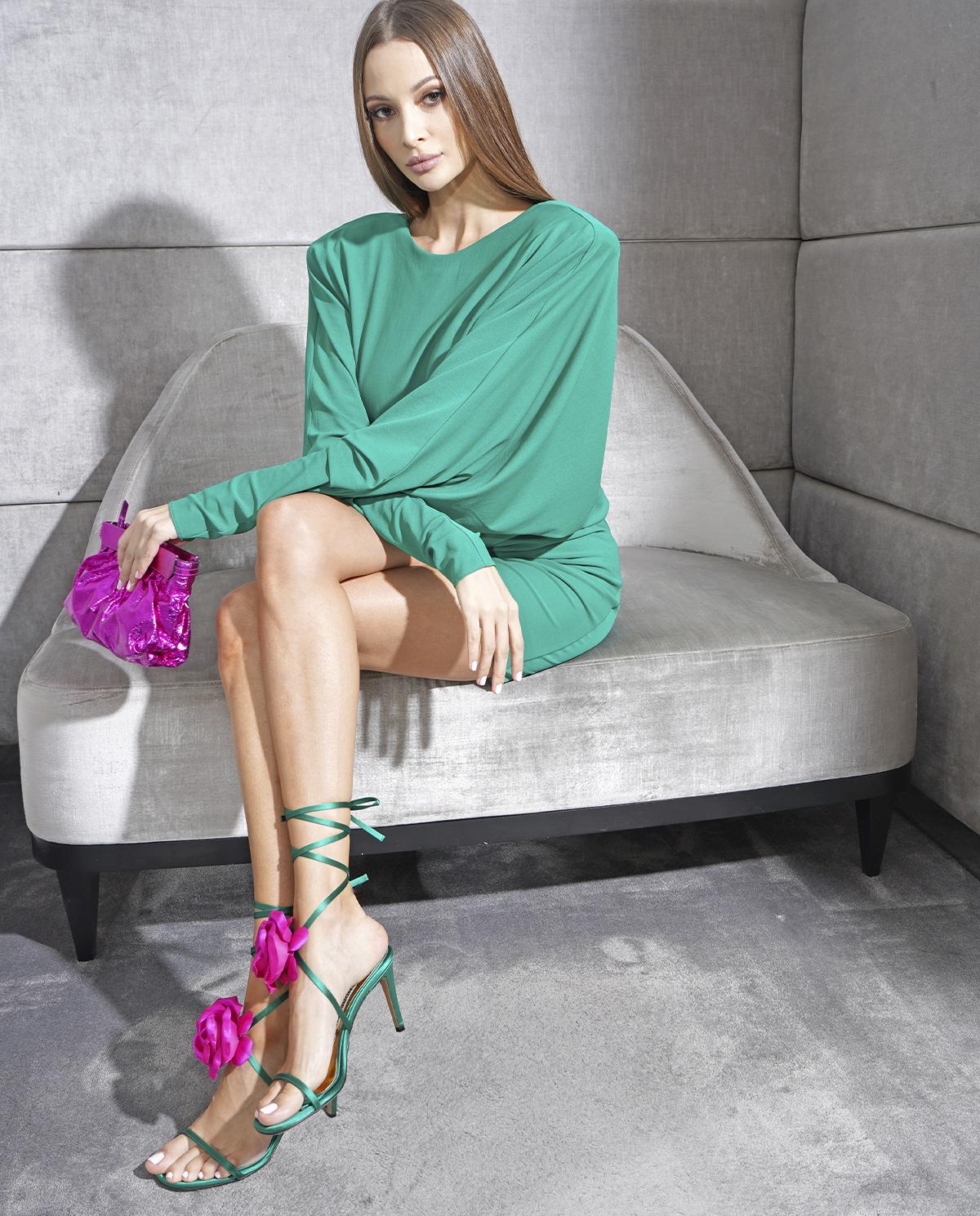 Zielona sukienka z odkrytymi plecami Alexandre Vauthier